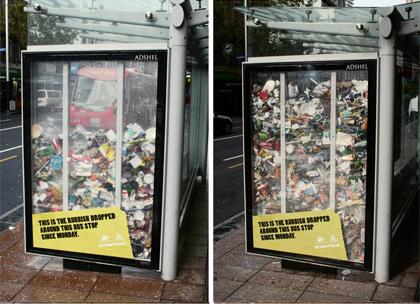 Müll an der Bushaltestelle