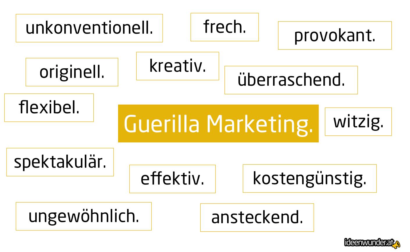 Eigenschaften von Guerilla Marketing, überraschend, provokant, unkonventionell, kostengünstig, etc.