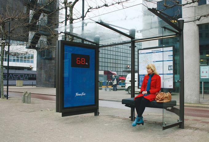 Fitness First Guerilla Marketing Bushaltestelle