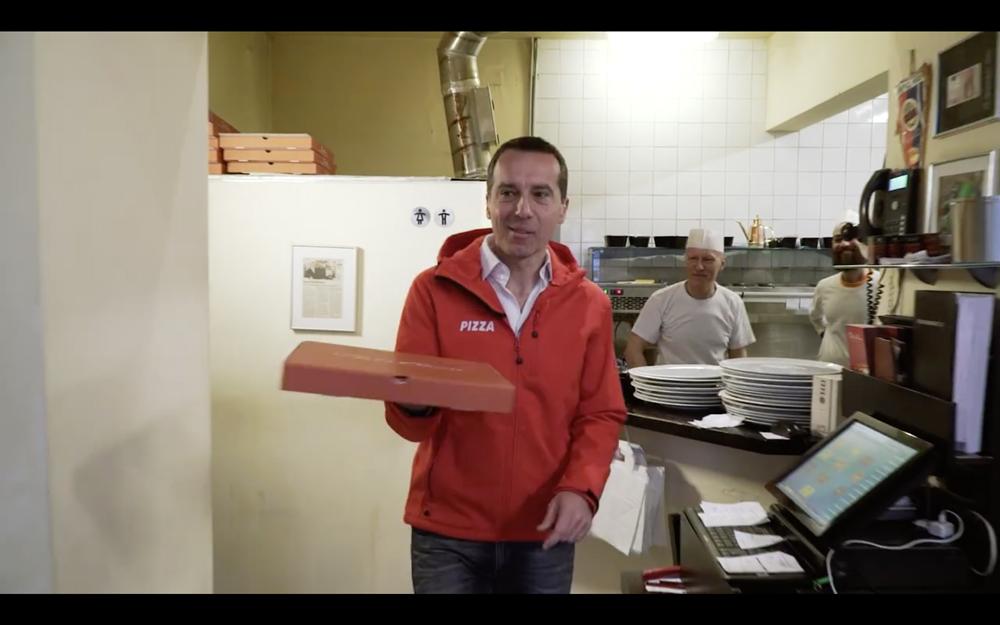 Bundeskanzler liefert Pizza