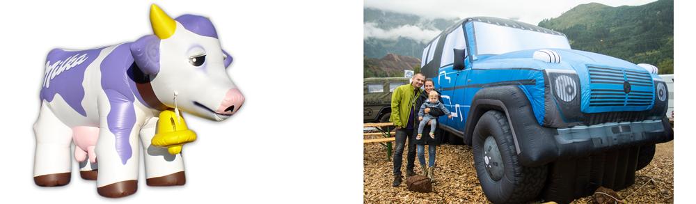 Aufblasbare Werbeträger Milka + Puch G (Foto: www.noproblaim.at)